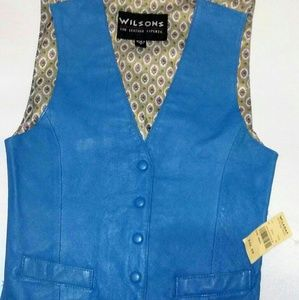 Wilson Teal Leather Vest Size D